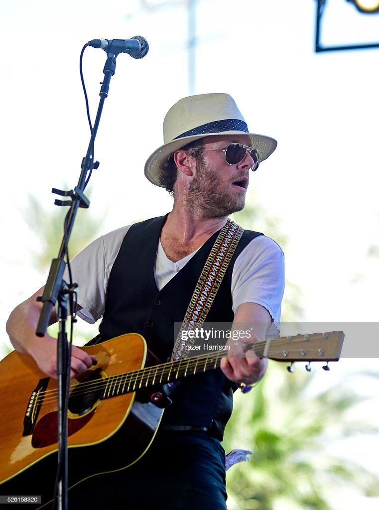 Musician Tim Jones performs with Leroy Powell onstage during 2016 Stagecoach California's Country Music Festival at Empire Polo Club on April 29, 2016 in Indio, California.
