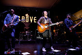 Musician Tim Lopez Tom Higgenson and Mike Retondo of the Plain White T's perform at the Grove's Summer Concert Series on July 6 2016 in Los Angeles...