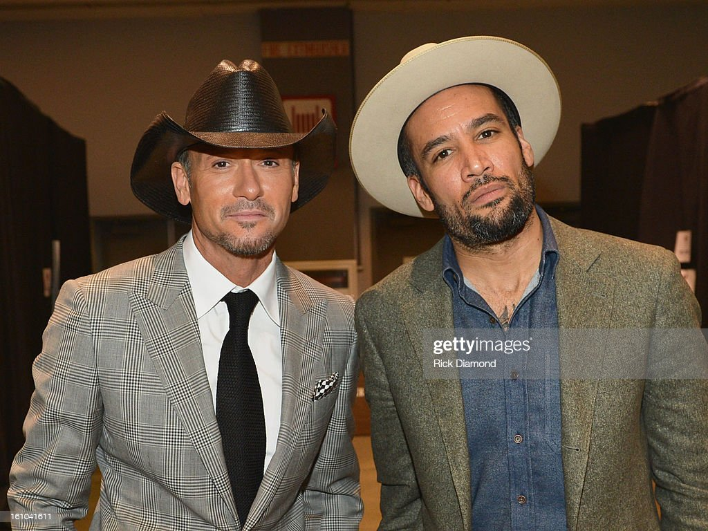Musician Tim McGraw and Ben Harper attend MusiCares Person Of The Year Honoring Bruce Springsteen at the Los Angeles Convention Center on February 8...