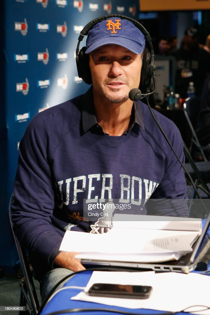 Musician <a gi-track='captionPersonalityLinkClicked' href=/galleries/search?phrase=Tim+McGraw&family=editorial&specificpeople=202845 ng-click='$event.stopPropagation()'>Tim McGraw</a> attends SiriusXM's Live Broadcast from Radio Row during Bowl XLVII week on February 1, 2013 in New Orleans, Louisiana.