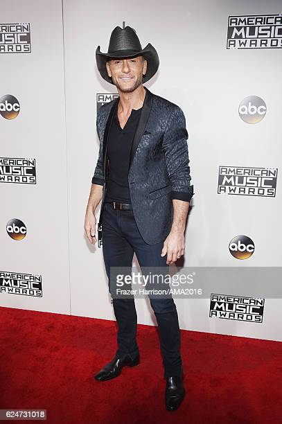 Musician Tim McGraw attends the 2016 American Music Awards at Microsoft Theater on November 20 2016 in Los Angeles California