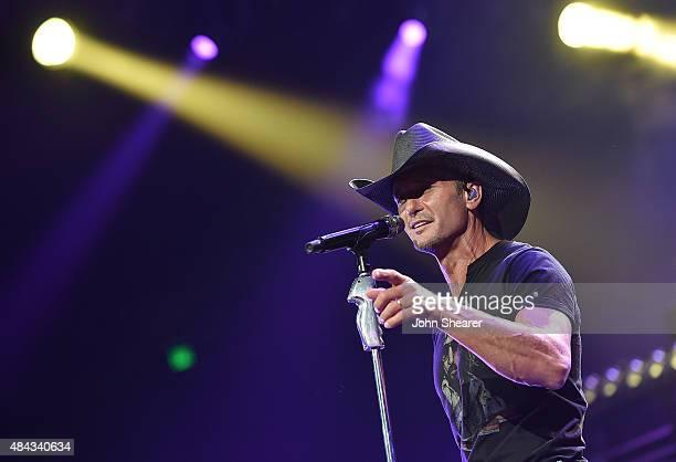Musician Tim McGraw performs on the 'Shotgun Rider' tour at Bridgestone Arena on August 15 2015 in Nashville Tennessee