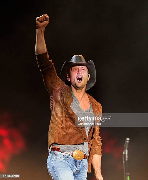 Musician Tim McGraw performs onstage during day one of 2015 Stagecoach California's Country Music Festival at The Empire Polo Club on April 24 2015...
