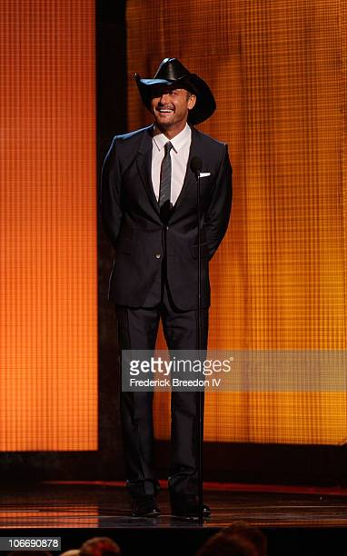 Musician Tim McGraw speaks onstage at the 44th Annual CMA Awards at the Bridgestone Arena on November 10 2010 in Nashville Tennessee