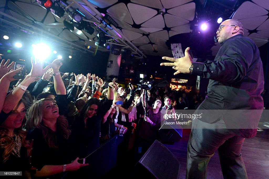 Musician Timbaland performs during mPowering Action, a global mobile youth movement at Grammy Week launch, featuring performances by Timbaland and Avicii at The Conga Room at L.A. Live on February 8, 2013 in Los Angeles, California.