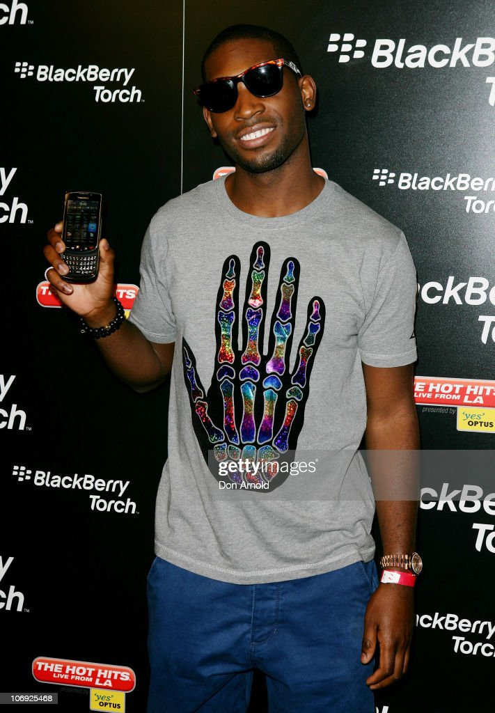 UK musician Tinie Tempah arrives at the launch event for the new Blackberry Torch at the Argyle Hotel on November 17 2010 in Sydney Australia