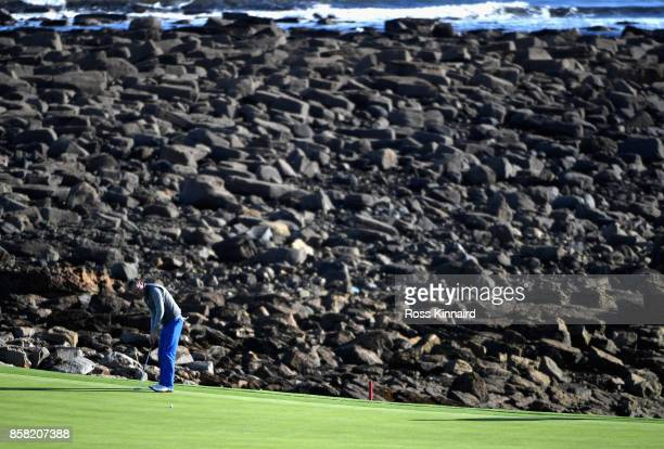 Musician Tom Chaplin putts on the 15th during day two of the 2017 Alfred Dunhill Championship at Kingsbarns on October 6 2017 in St Andrews Scotland