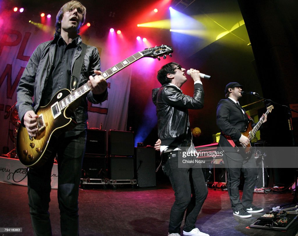 Musician Tom Higgenson Mike Retondo and Tim Lopez of Plain White T's perform at Shepherd's Bush Empire on January 30 2008 in London England