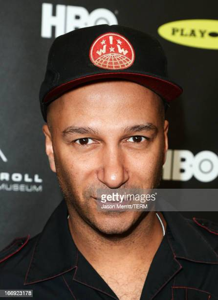 Musician Tom Morello arrives at the 28th Annual Rock and Roll Hall of Fame Induction Ceremony at Nokia Theatre LA Live on April 18 2013 in Los...