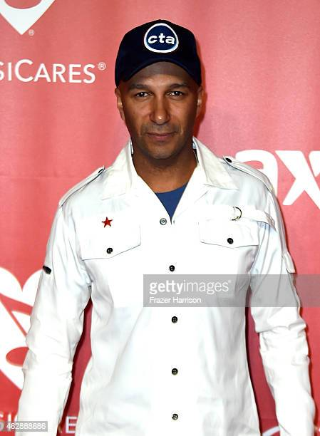 Musician Tom Morello attends the 25th anniversary MusiCares 2015 Person Of The Year Gala honoring Bob Dylan at the Los Angeles Convention Center on...