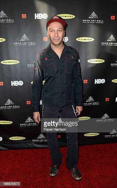 Musician Tom Morello attends the 28th Annual Rock and Roll Hall of Fame Induction Ceremony at Nokia Theatre LA Live on April 18 2013 in Los Angeles...