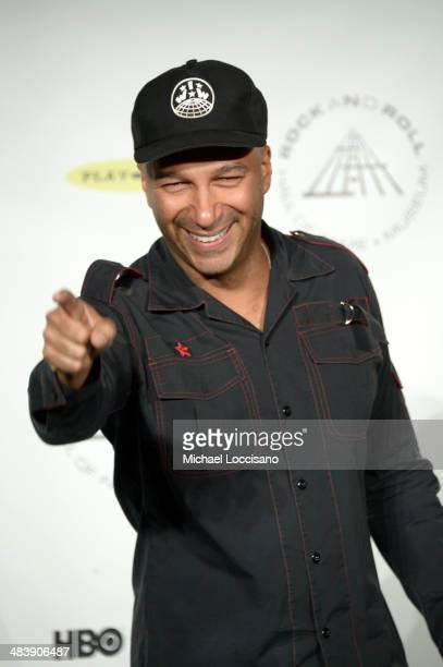 Musician Tom Morello attends the 29th Annual Rock And Roll Hall Of Fame Induction Ceremony at Barclays Center of Brooklyn on April 10 2014 in New...