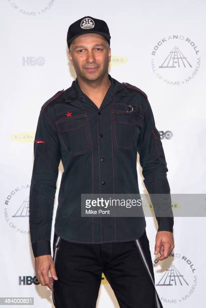 Musician Tom Morello attends the 29th Annual Rock And Roll Hall Of Fame Induction Ceremony at Barclays Center on April 10 2014 in the Brooklyn...