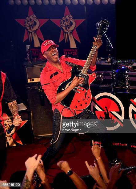 Musician Tom Morello of Prophets of Rage performs onstage at Whisky a Go Go on May 31 2016 in West Hollywood California