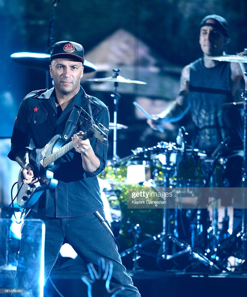 Musician <a gi-track='captionPersonalityLinkClicked' href=/galleries/search?phrase=Tom+Morello&family=editorial&specificpeople=2133151 ng-click='$event.stopPropagation()'>Tom Morello</a> performs onstage at the 55th Annual GRAMMY Awards at Staples Center on February 10, 2013 in Los Angeles, California.