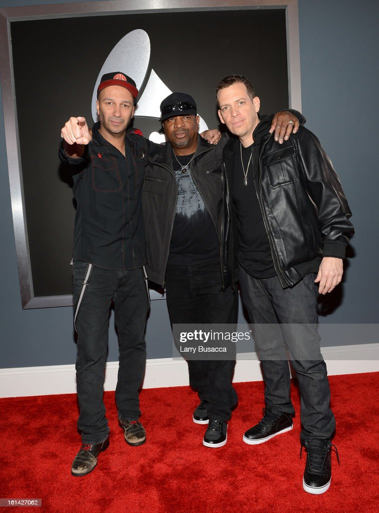 Musician Tom Morello, rapper Chuck D, and DJ Z Trip attend the 55th Annual GRAMMY Awards at STAPLES Center on February 10, 2013 in Los Angeles, California.