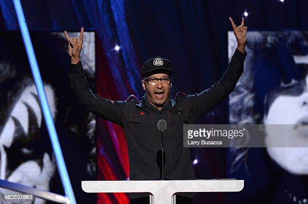 Musician Tom Morello speaks onstage at the 29th Annual Rock And Roll Hall Of Fame Induction Ceremony at Barclays Center of Brooklyn on April 10 2014...