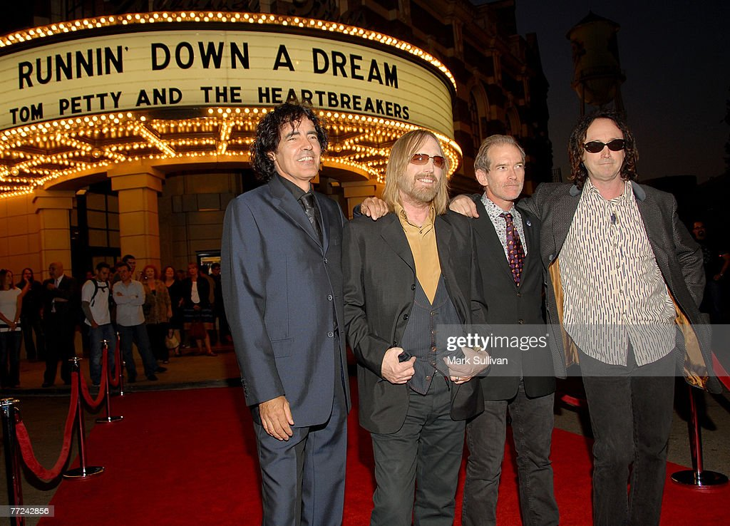 Musician Tom Petty (2nd L) and members of The Heartbreakers (L-R) Ron Blair, Benmont Tench, and Mike Campbell arrive at Runnin' Down A Dream: Tom Petty and The Heartbreakers premiere held in Burbank, California on October 2, 2007.