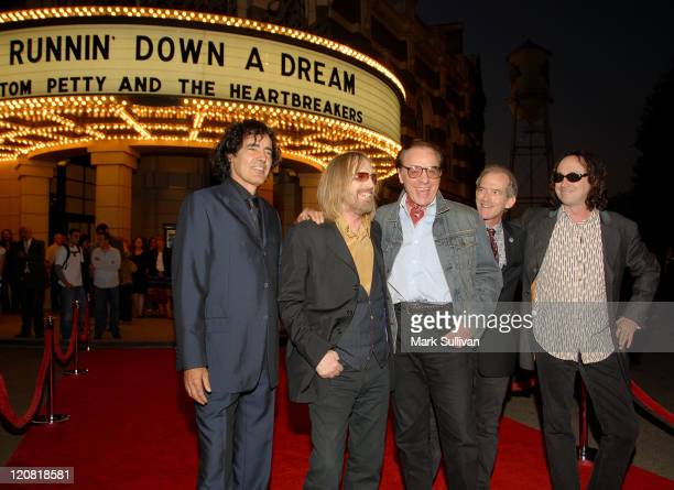 Musician Tom Petty director Peter Bogdanovich and members of The Heartbreakers Ron Blair Benmont Tench and Mike Campbell arrive at Runnin' Down A...