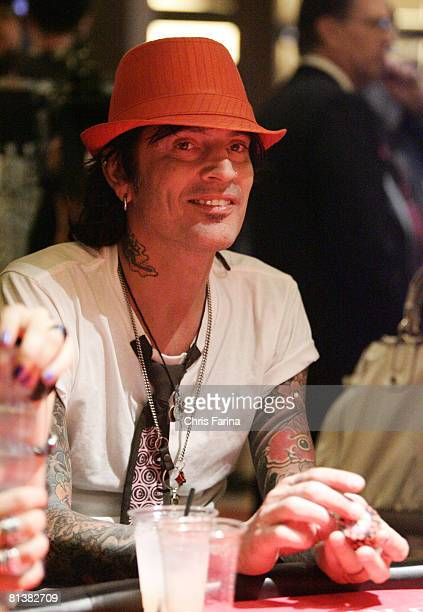 Musician Tommy Lee plays blackjack at Planet Hollywood Resort Casino on May 17 2008 for Planet Green and Battleground Earth in Las Vegas Nevada