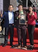 Musician Tony Melendez radio personality Renan Almendarez Coello and singer Graciela Beltran attend the ceremony honoring Renan Almendarez Coello...