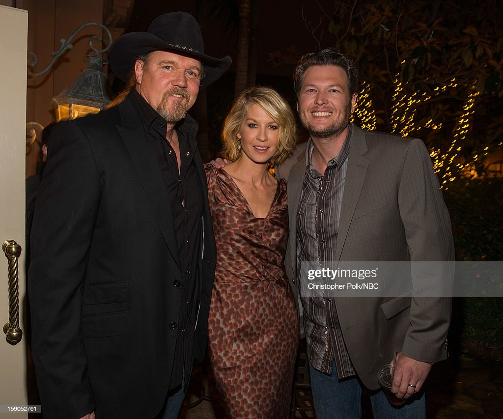 Musician <a gi-track='captionPersonalityLinkClicked' href=/galleries/search?phrase=Trace+Adkins&family=editorial&specificpeople=224686 ng-click='$event.stopPropagation()'>Trace Adkins</a>, actress <a gi-track='captionPersonalityLinkClicked' href=/galleries/search?phrase=Jenna+Elfman&family=editorial&specificpeople=204782 ng-click='$event.stopPropagation()'>Jenna Elfman</a> and musician <a gi-track='captionPersonalityLinkClicked' href=/galleries/search?phrase=Blake+Shelton&family=editorial&specificpeople=2352026 ng-click='$event.stopPropagation()'>Blake Shelton</a> at the NBCUniversal 2013 TCA Winter Press Tour Party held at The Langham Huntington Hotel and Spa on January 6, 2013 in Pasadena, California.