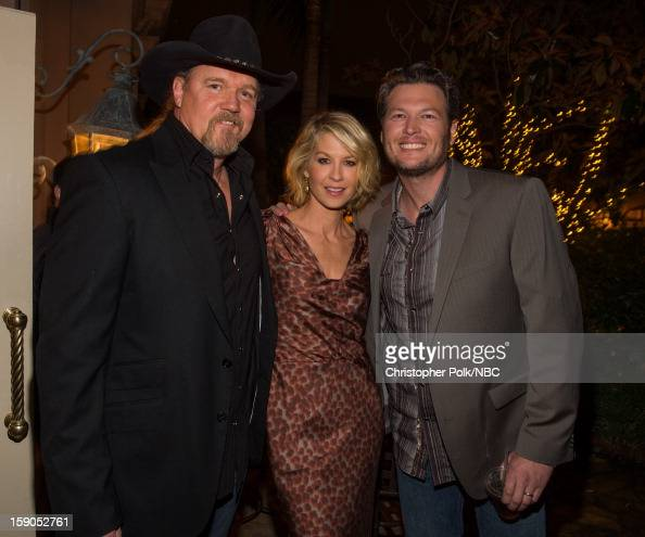 Musician Trace Adkins actress Jenna Elfman and musician Blake Shelton at the NBCUniversal 2013 TCA Winter Press Tour Party held at The Langham...