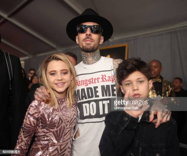 Musician Travis Barker Alabama Barker and Landon Barker attend The 59th GRAMMY Awards at STAPLES Center on February 12 2017 in Los Angeles California