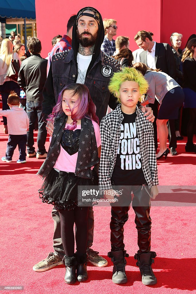 Musician <a gi-track='captionPersonalityLinkClicked' href=/galleries/search?phrase=Travis+Barker&family=editorial&specificpeople=213206 ng-click='$event.stopPropagation()'>Travis Barker</a> and his children, Alabama Luella Barker and Landon Asher Barker attend the premiere of 'The LEGO Movie' at Regency Village Theatre on February 1, 2014 in Westwood, California.