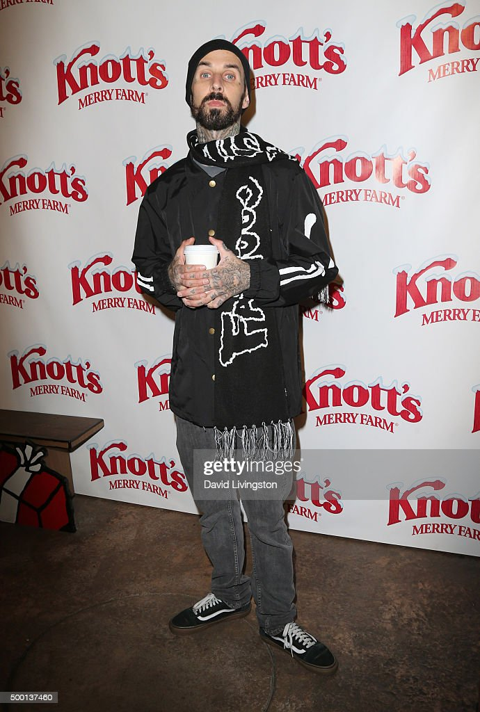 Musician Travis Barker attends Knott's Berry Farm's Countdown To Christmas And Snoopy's Merriest Tree Lighting at Knott's Berry Farm on December 5...