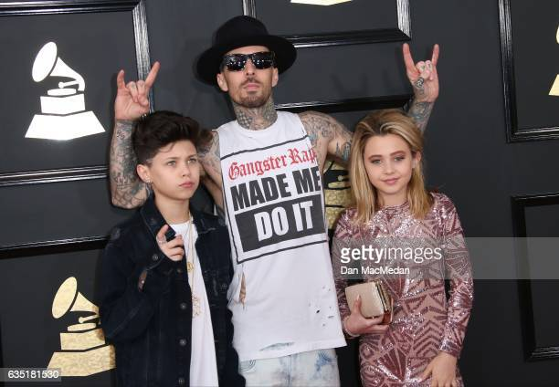 Musician Travis Barker Landon Barker and Alabama Barker arrive at The 59th GRAMMY Awards at Staples Center on February 12 2017 in Los Angeles...