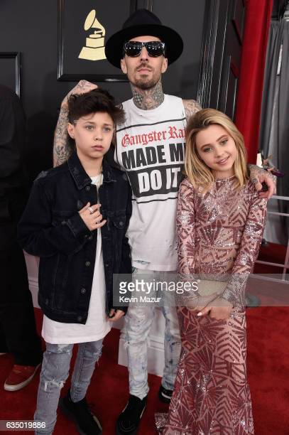 Musician Travis Barker Landon Barker and Alabama Barker attend The 59th GRAMMY Awards at STAPLES Center on February 12 2017 in Los Angeles California