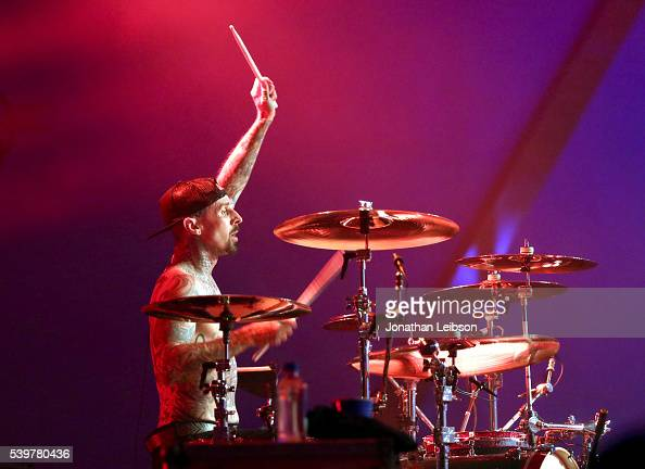 Musician Travis Barker of Blink182 performs onstage as Bethesda Softworks shows off new video game experiences at its E3 Showcase and BE3 Plus event...
