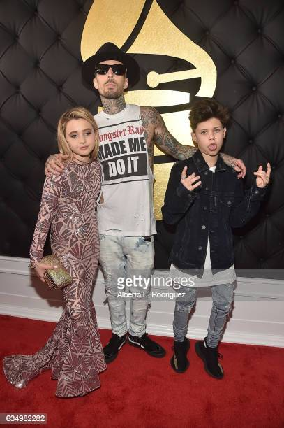 Musician Travis Barker with children Alabama Barker and Landon Barker attend The 59th GRAMMY Awards at STAPLES Center on February 12 2017 in Los...