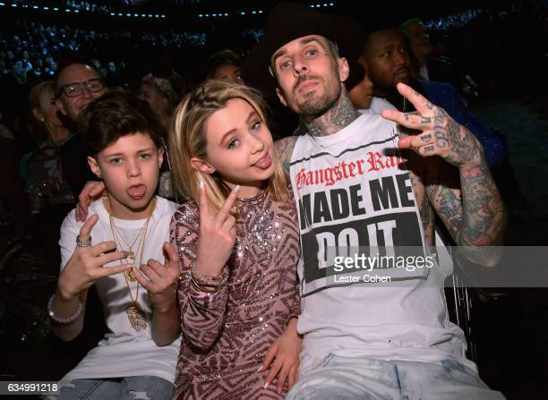 Musician Travis Barker with Landon Barker and Alabama Barker during The 59th GRAMMY Awards at STAPLES Center on February 12 2017 in Los Angeles...