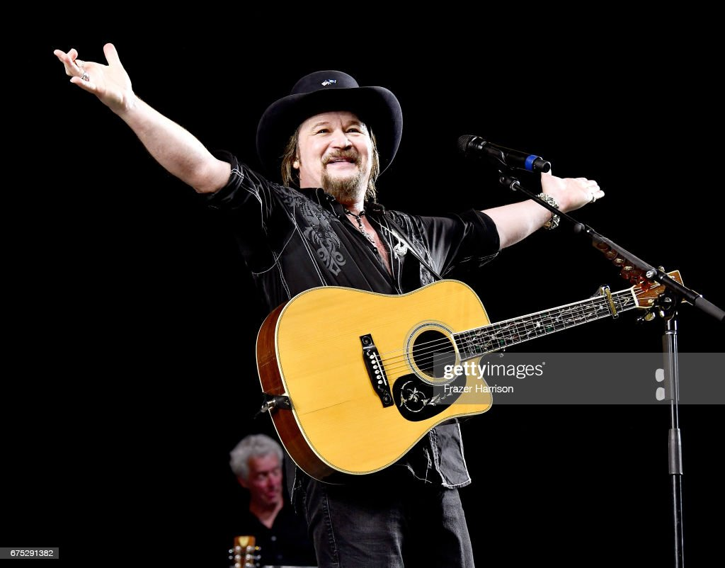 Musician Travis Tritt performs on the Palomino stage during day 3 of 2017 Stagecoach California's Country Music Festival at the Empire Polo Club on April 30, 2017 in Indio, California.
