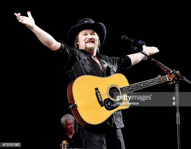 Musician Travis Tritt performs on the Palomino stage during day 3 of 2017 Stagecoach California's Country Music Festival at the Empire Polo Club on...