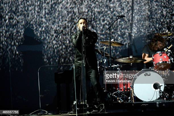 Musician Trent Reznor of Nine Inch Nails performs onstage during the 56th GRAMMY Awards at Staples Center on January 26 2014 in Los Angeles California