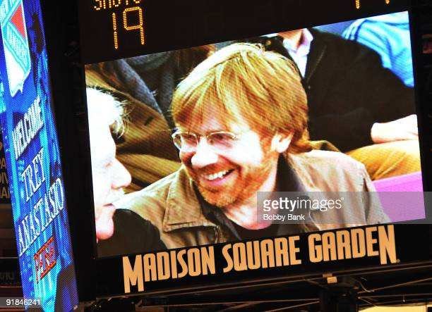 Musician Trey Anastasio of Phish is shown on the scoreboard attending the Toronto Maple Leafs Vs New York Rangers game at Madison Square Garden on...