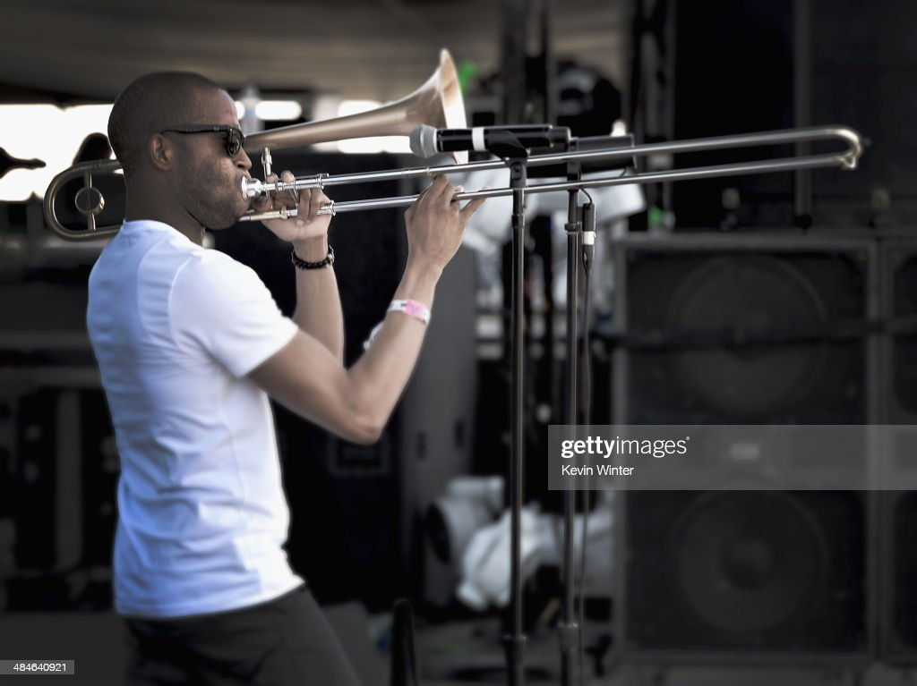 Musician Trombone Shorty performs onstage during day 3 of the 2014 Coachella Valley Music & Arts Festival at the Empire Polo Club on April 13, 2014 in Indio, California.