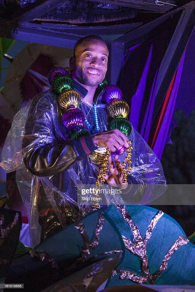 Musician Troy 'Trombone Shorty' Andrews rides in the 2013 Krewe of Orpheus Mardi Gras Parade on February 11, 2013 in New Orleans, Louisiana.