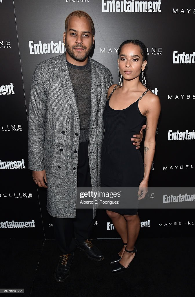 Musician Twin Shadow (L) and actress Zoe Kravitz attend Entertainment Weekly's celebration honoring THe Screen Actors Guild presented by Maybeline at Chateau Marmont on January 29, 2016 in Los Angeles, California.