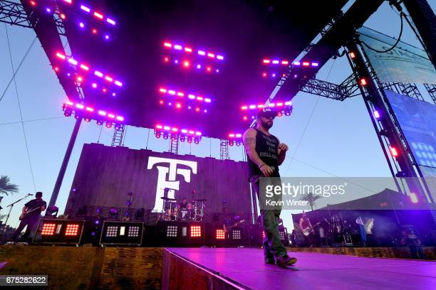Musician Tyler Farr performs on the Toyota Mane Stage during day 3 of 2017 Stagecoach California's Country Music Festival at the Empire Polo Club on...
