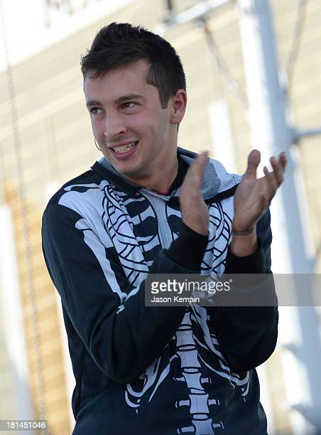 Musician Tyler Joseph of Twenty One Pilots performs onstage during the iHeartRadio Music Festival Village on September 21 2013 in Las Vegas Nevada