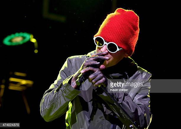 Musician Tyler Joseph of Twenty One Pilots performs onstage during the iHeartRadio Live Series with Twenty One Pilots at the iHeartRadio Theater LA...