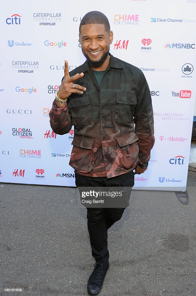 Musician Usher attends the 2015 Global Citizen Festival to end extreme poverty by 2030 in Central Park on September 26, 2015 in New York City.