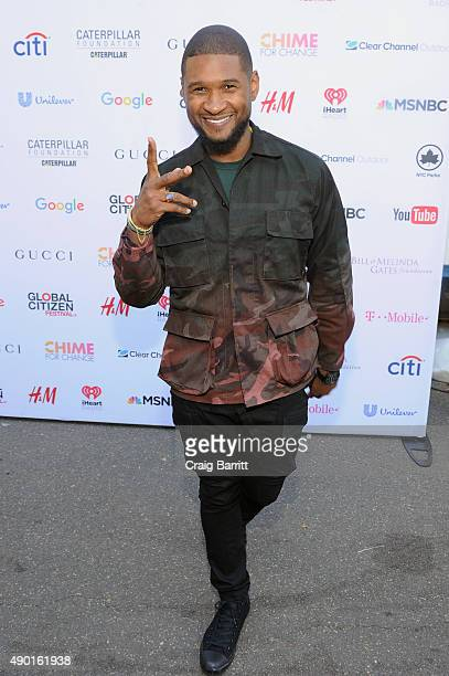 Musician Usher attends the 2015 Global Citizen Festival to end extreme poverty by 2030 in Central Park on September 26 2015 in New York City