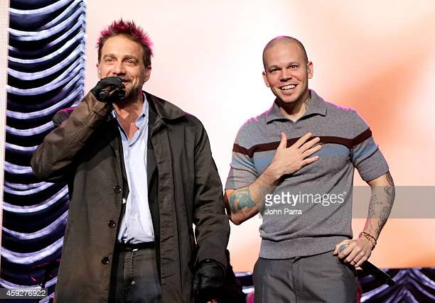 Musician Vicentico and singer Rene Perez Joglar perform onstage during the 2014 Person of the Year honoring Joan Manuel Serrat at the Mandalay Bay...