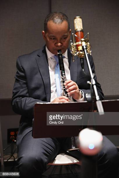 Musician Victor Goines plays saxophone as Wynton Marsalis and Jon Batiste perform the music of John Lewis at Spotify Studio for Jazz at Lincoln...