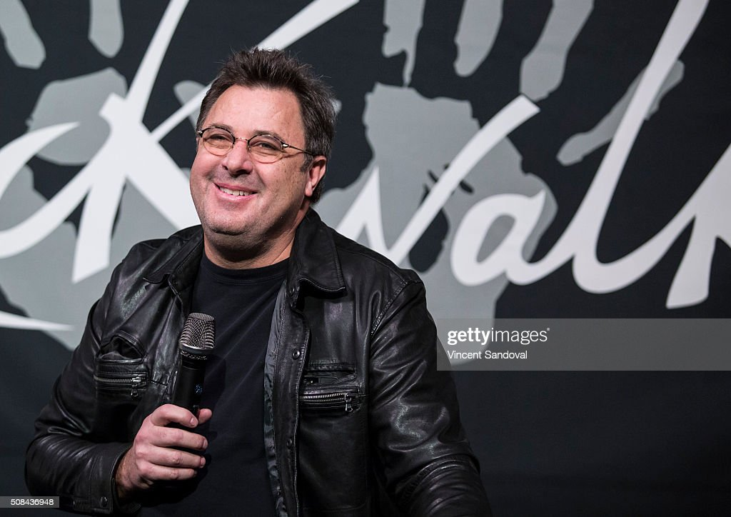 Musician Vince Gill inducted into Guitar Center's RockWalk at Guitar Center on February 4 2016 in Hollywood California